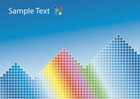 Vector illustration of a colorful rainbow with squared patterns and pyramids. Blue gradient background. Sample logo at the top. Stock Vector - 2839740