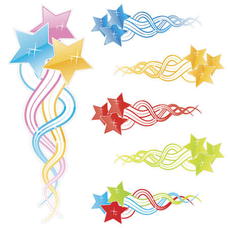 Vector illustration of twitchy glossy modern falling stars in different colors: pink, blue, green, red, yellow. Shiny finish with sparks. Illustration