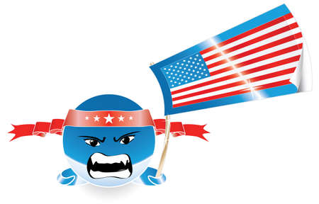 Vector illustration of an anime style emoticon waving an US flag with an evil or angry expression. Customizable. Vector