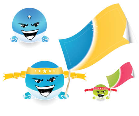 Vector illustration of an anime style happy emoticon face with a joyful expression and a retail tag/flag in the hand. Highly customizable. In different colors. Stock Vector - 2901320