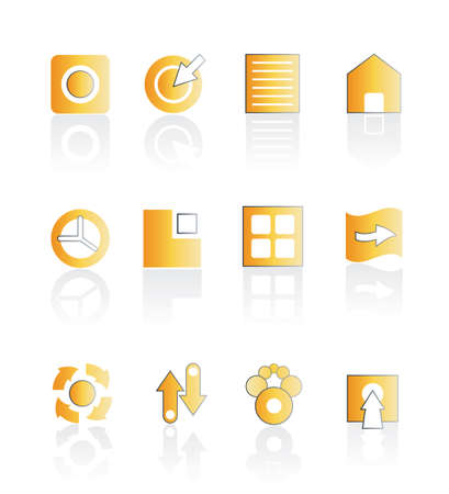 Vector illustration of asorted web icons in orange color with shadow. Stylized and modern. Easily editable. Vector