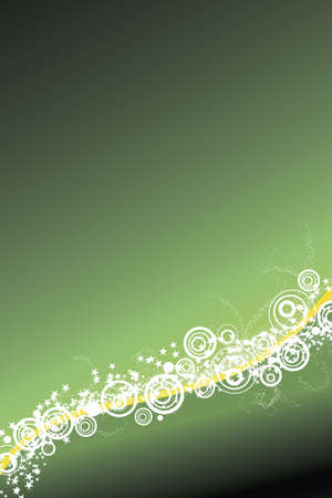 Vector illustration of a celebrative background with waved lined art, modern circles and a myriad of stars. Green vertical. Vector