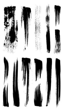 grouped: Vector outline traces of customizable organic paint brushes (strokes) in different shapes and styles, highly detailed. Grouped individually, easily editable. Collection of best brushes.