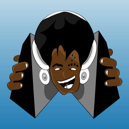 Vector illustration of a crazy and happy black DJ listening to music. With headphones and speakers. Vector
