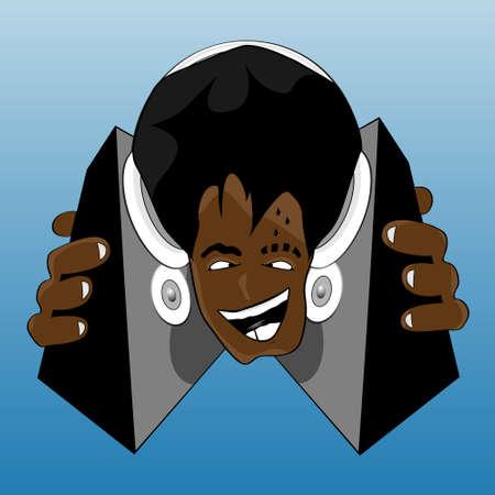 breaks: Vector ilustraci�n de un loco y feliz negro DJ escuchar m�sica. Con auriculares y altavoces.