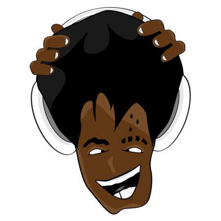 Vector illustration of a crazy and happy black DJ listening to music with headphones. Vector