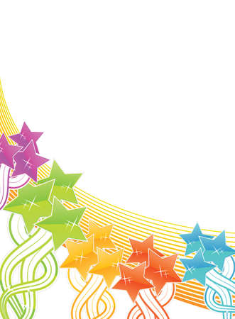 Vector illustration of a rainbow stars filled background with lined art. Vector