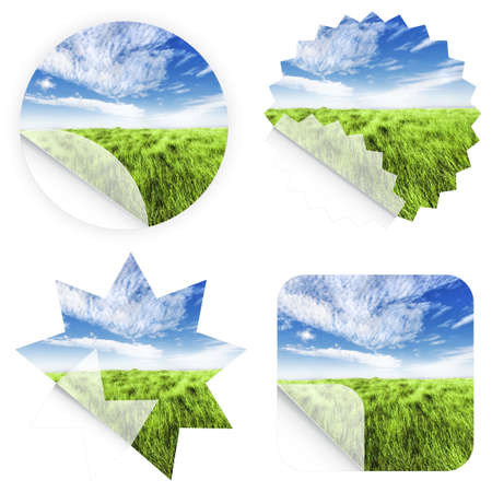 peel off: Illustrations of beautiful horizon with high grass stickers. Blank and isolated. Stock Photo