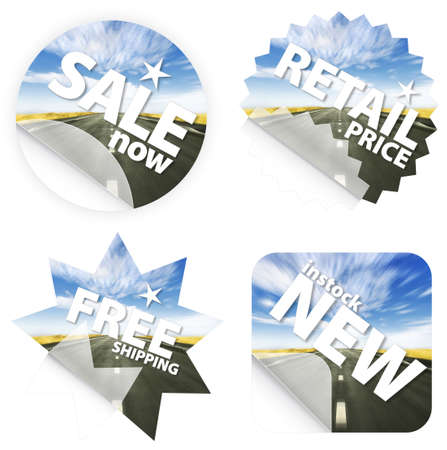 Illustration of stickers with a beautiful blue sky and road leading in the horizon. Themes include sales, free shipping, retail price and new item in stock. illustration