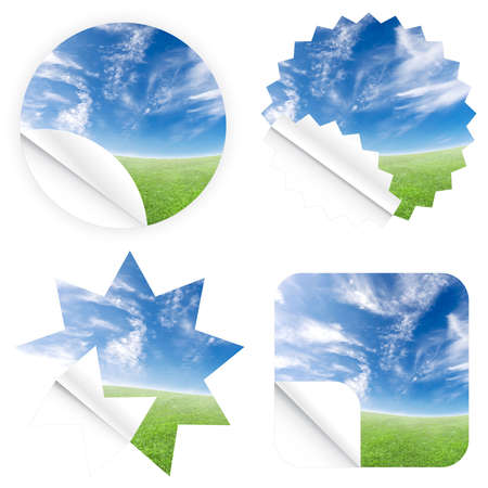 Illustrations of beautiful stickers with green grass and blue sky. Blank and isolated. illustration