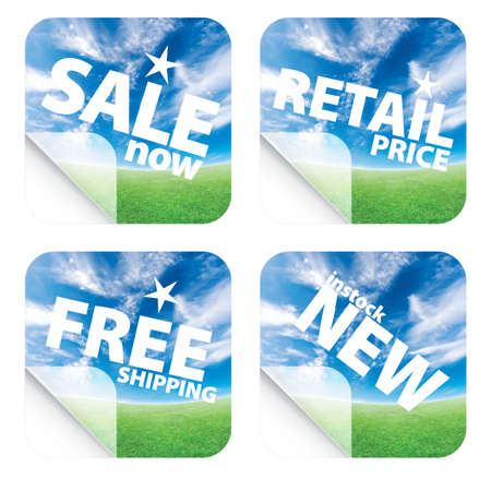 clean off: Illustrations of beautiful stickers with green grass and blue sky. Themes include sales, free shipping, retail price and new item in stock. Set 4. Stock Photo