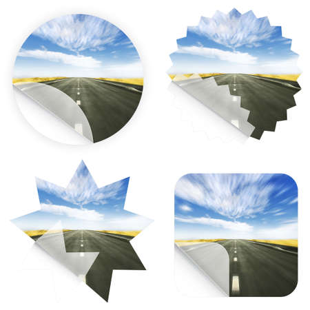 Illustration of stickers with a beautiful blue sky and road leading in the horizon. Blank and isolated. illustration