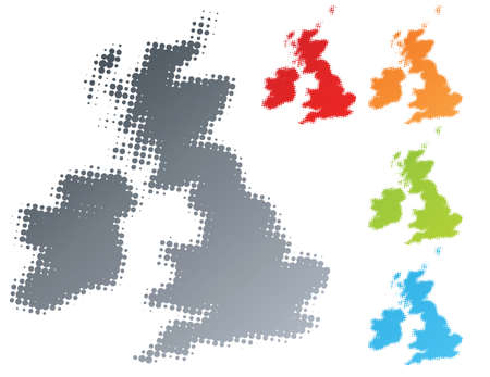 Vector illustration of a modern halftone design element in the shape of the United Kingdom and Ireland country. Separable.
