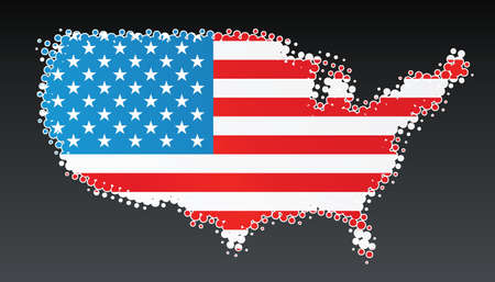 Vector illustration of a modern halftone design element in the shape of the USA country. White halftone, border and contents), on separate layer. Stock Vector - 3032228
