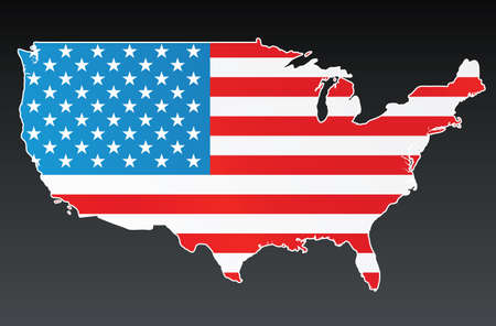 Vector illustration of the US country with the USA flag over it. White border and background on separate layer. Vector