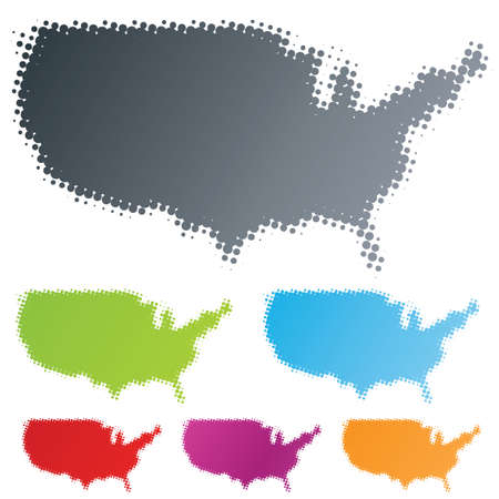 Vector illustration of differently colored design elements in the shape of the USA continent in the halftone technique. Stock Vector - 3032229