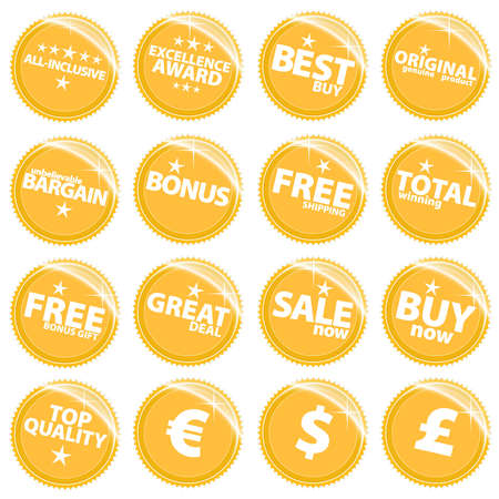 Vector illustration of a set of golden retail web icons, tags or stickers with various sale slogans. Stock Illustration - 3057491