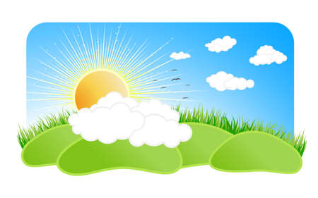 Vector illustration of a beautiful sunny nature landscape with a blue sky clouds, birds, green grass, sun with rays and green pastures. Stock Photo