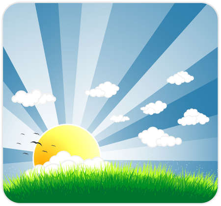 Vector illustration of an idyllic sunny nature background with a blue gradient stripes sky, birds, green grass layers of grass and  sky.