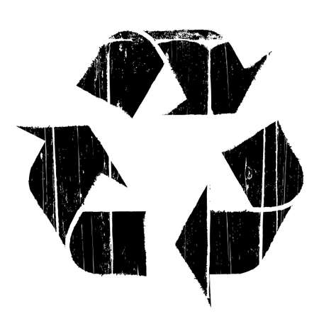 Vector illustration of an aged and old textured recycling symbol design element. illustration