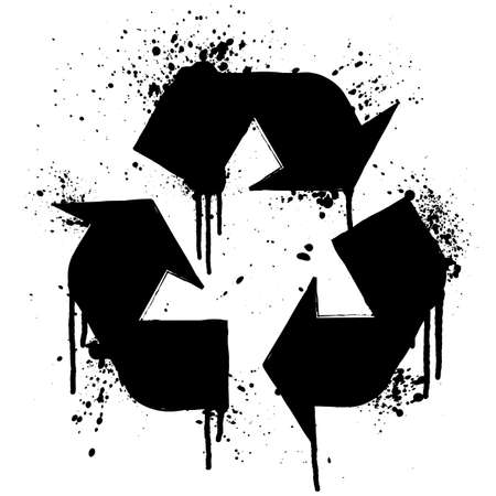 Vector illustration of an ink splatter recycle symbol design element. Stock Photo