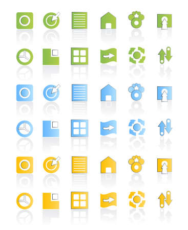 Vector illustration of a modern icon set collection in three different colors. illustration