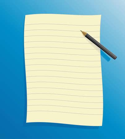 foglio a righe: Illustrazione vettoriale di una carta nera statuito su sfondo blu, con ombra e matita.  Archivio Fotografico
