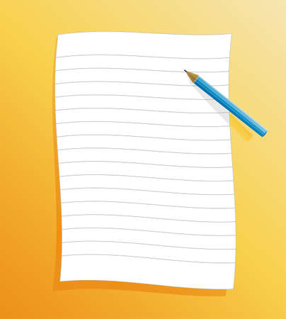 Vector illustration of a slick ruled paper on orange background with shadow and pencil. illustration