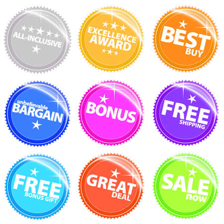 Vector illustration of shiny and glossy web tags and stickers in different colors. With retail text. illustration