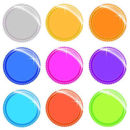 Vector illustration of shiny and glossy web tags and stickers in different colors. Easily editable. illustration