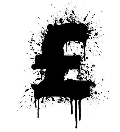 Vector illustration of a highly detailed UK Pound splatter design element. Stock Illustration - 3104967