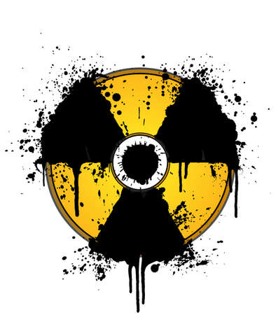 Vector illustration of a splatter ink design element in the shape of the radioactive symbol. On separate layers. illustration