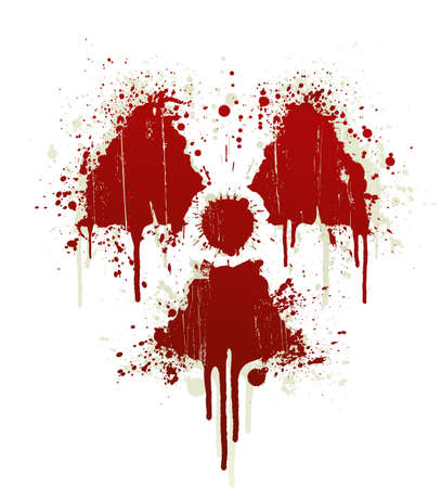 Vector illustration of a blood splatter design element in the shape of the radioactive symbol. Shadow on separate layer. illustration