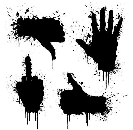 negativity: Vector illustration of ink splatter design elements with hand gestures theme. Highly detailed.