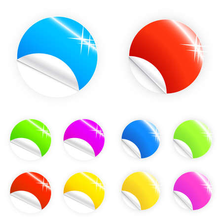 Vector illustration of colorful glossy retail stickers, tags and buttons in different colors. Two sets. Stock Photo