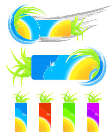 Vector illustration of two summer seasonal design elements, grunge and floral, and four retail happy summertime tags with sun. illustration