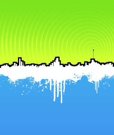 Vector illustration of a grunge cityscape background with transmitter antenna. Stock Illustration - 3172548