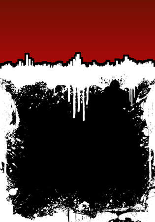 Vector illustration of a ink splatter grunge frame background with dramatic cityscape at the top. Highly detailed. Stock Illustration - 3172566