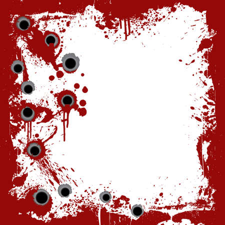 Vector illustration of a bloody grunge frame with splatters and gunshot holes. illustration