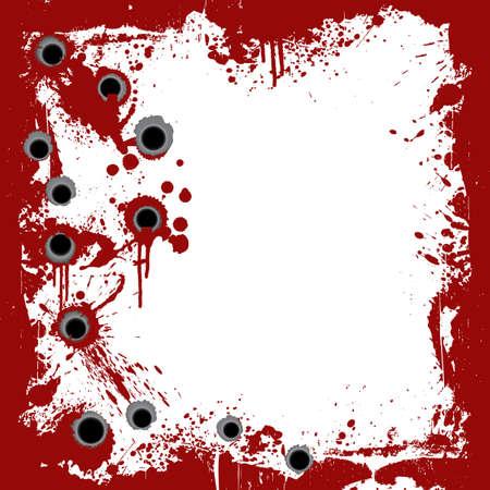 gunshot: Vector illustration of a bloody grunge frame with splatters and gunshot holes.