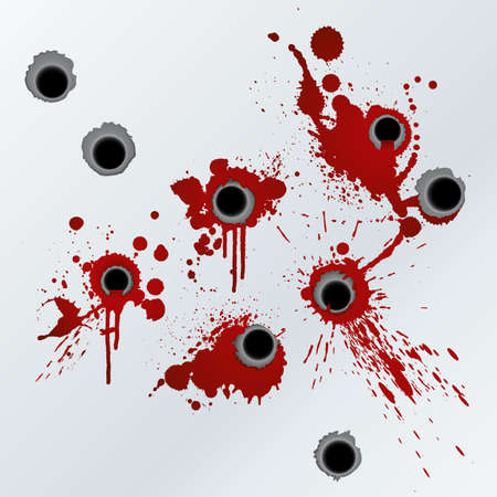 murder: Vector illustration of bloody gunshots with blood splatters on the wall.
