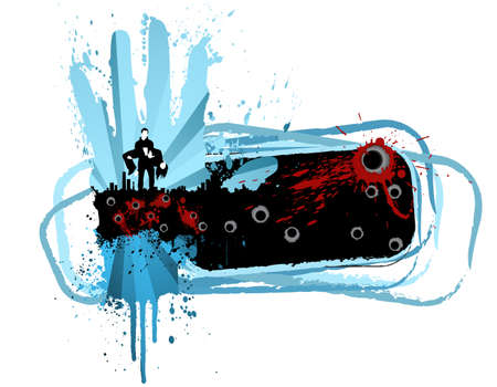 Vector illustration of an urban cityscape design element with gunshots, blood splatters and a banner copy space. illustration