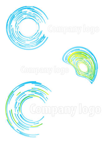 Vector illustration of three highly detailed abstract company logos. illustration