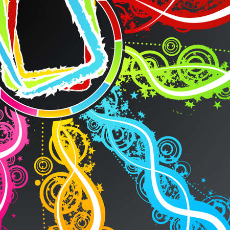 Vector illustration of a celebration background with colorful explosions of rainbow stars, circles and lined art. illustration