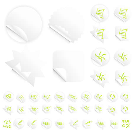 Vector illustrations of four different modern glossy shiny stickers or tags. Various custom themes. Red writing. Stock Illustration - 3256861