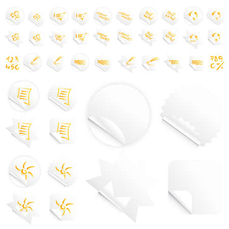 Vector illustrations of four different modern glossy shiny stickers or tags. Various custom themes. Orange writing. Stock Illustration - 3256866