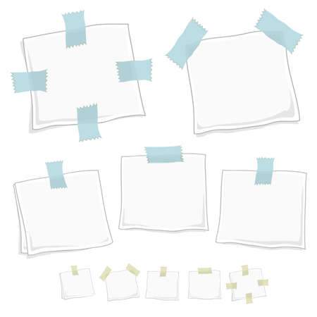 Vector illustration of stylized note posts in five different forms in two versions. illustration