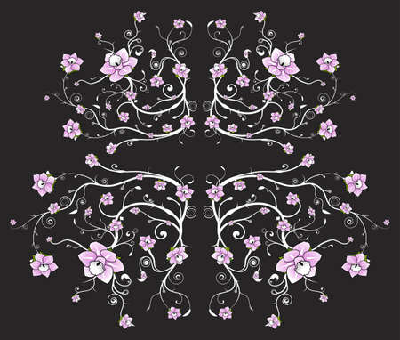 Vector illustration of a beautiful floral pattern background with vivid pink flowers. illustration