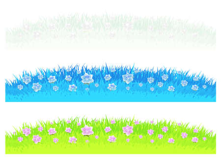 Vector illustrations of three differently colored grass and lawn design elements with beautiful flowers. illustration