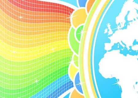Vector illustration of a conceptual global celebration world map background. illustration